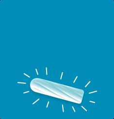 Imagem de um tampão branco sobre um fundo azul, e o tampão tem traços à sua volta.