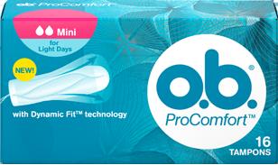 Imagem de uma embalagem de o.b.® ProComfort™ Mini. O produto tem duas gotículas, que indicam que é recomendado para os dias de fluxo ligeiro e as raparigas que estão a começar a utilizar tampões.