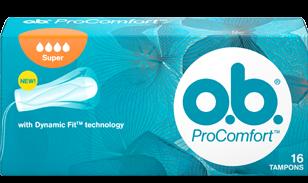 Imagem de uma embalagem de o.b.® ProComfort™ Super. O produto tem cinco gotículas, que indicam que é recomendado para os dias de fluxo abundante a muito abundante.