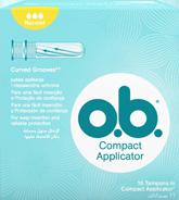 Imagem de uma embalagem de o.b.® Compact Normal com Aplicador. O produto tem três gotículas, que indicam que é recomendado para os dias de fluxo ligeiro a moderado.