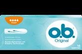 Imagem de uma embalagem de o.b.® Original Normal. O produto tem quatro gotículas, que indicam que é recomendado para os dias de fluxo moderado a abundante.