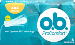 Imagem de uma embalagem de o.b.® ProComfort™ Normal. O produto tem três gotículas, que indicam que é recomendado para os dias de fluxo moderado a abundante.