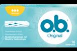 Imagem de uma embalagem de o.b.® Original Normal. O produto tem três gotículas, que indicam que é recomendado para os dias de fluxo ligeiro a moderado.