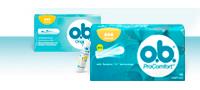 Imagem de diferentes produtos da gama o.b.®: o.b.® Original e o.b.® ProComfort™