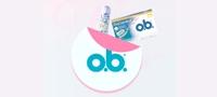 Imagem de um tampão e embalagem o.b.® ProComfort™ com o logótipo o.b.® em primeiro plano.